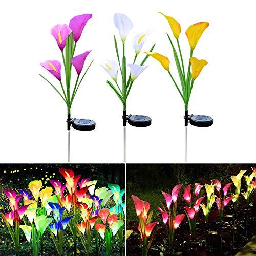 Solarlampen für AußEn, 4 Kopf Calla Lily Blumen Led, 3 Stück Garten Solarleuchten Bunt, Solar Gartenleuchte, Solar Lights Outdoor, Farbwechsel Solarblumen Solarlicht für Balkon (Weiß, Gelb & Lila)