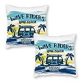 76DinahJordan California Long Beach Kids Surfing Team Kissenbezüge, 45 x 45 cm, 2 Stück, Landhausstil, modern, lustig, Kissenbezug für Dekoration, Sofa, Sitze, Gartenstühle