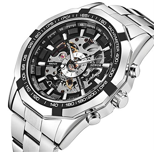 SENORS Herren Uhren ,Automatikuhr Mechanische Sport Casual Business Style Wasserdicht Männer Armbanduhr mit Edelstahl Armband Silber