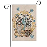 Loccie Welcome St Patrick's Day Garden Flag Vertical Double Sided, Gnome Horseshoe Beer Shamrock Leopard Yard Outdoor Decoration 12 x 18 Inch(Grey Pickup)