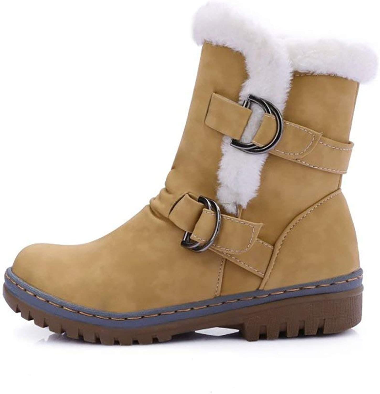 Womens Ankle Boots Flats Fur Warm Winter Snow Booties Buckle Strappy Waterproof Slip on Sneakers shoes