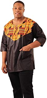 Kente Men's Shirt, African Mens Dress Shirt, Black Ankara Shirt, Men's African Clothing