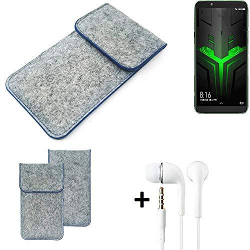 K-S-Trade Filz Schutz Hülle Für Xiaomi Blackshark Helo Schutzhülle Filztasche Pouch Tasche Handyhülle Filzhülle Hellgrau, Blauer Rand + Kopfhörer