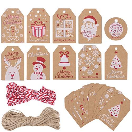 AILANDA 100pcs Geschenkanhänger Weihnachten Weihnachtsanhänger mit Juteschnur für Weihnachten Weihnachtsbaum Geschenke