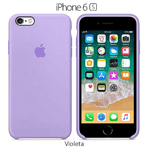 Funda Silicona para iPhone 6 y 6s Silicone Case, Textura Suave, Forro Interno Microfibra (Violeta)