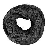 Einfarbiger Loop Schlauchschal, Winter Herbst Warmer Strick Loop Schal, Herren-Schal und Damen-Schal, Unisex (Dunkelgrau)