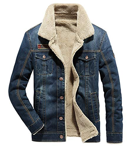 Fuwenni Men's Sherpa Fleece Lined Denim Trucker Jacket Winter Jean Jacket Cowboy Coat Dark Blue XL