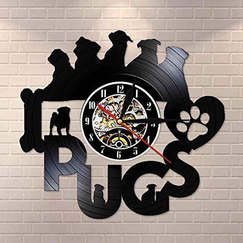 Regalos para Hombres Pug Time Funny Pug Puppy Perro Lindo Disco de Vinilo Vintage Reloj de Pared Movimiento silencioso Retro LP Artes y Manualidades Reloj de Pared Decorativo
