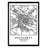 Nacnic Lámina Mapa de la Ciudad Bucharest Estilo nordico en Blanco y Negro. Poster tamaño A3 Sin Marco Impreso Papel 250 gr. Cuadros, láminas y Posters para Salon y Dormitorio
