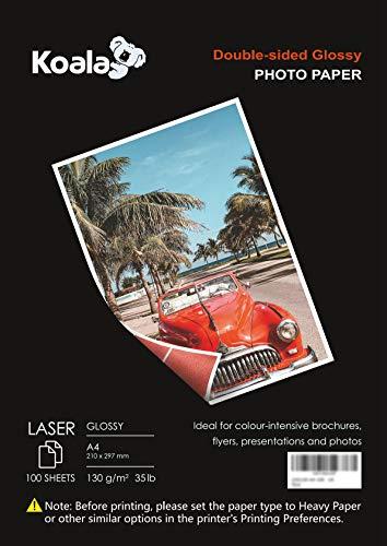 KOALA Fotopapier für Laserdrucker, Doppelseitig, Glänzend, A4, 130 g/m², 100 Blatt. Geeignet zum Drucken von Fotos, Zertifikaten, Broschüren, Flyern, Faltblättern, Grußkarten, Kalendern, Kunst