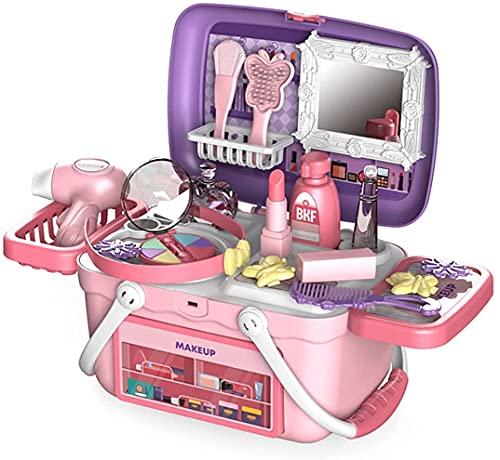 Guerlam Kids fingere di Trucco Caso Simulazione di Bellezza Salone Set Accessori Valigia stoccaggio Scatola dei Cosmetici Giocattolo Giocattolo di Natale Compleanno Regalo