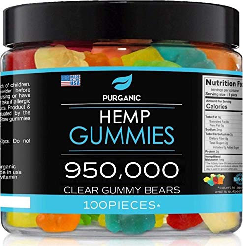 Purganic Hemp Gummies – Helps Support Sleep, Peace and Relaxation - High Strength and Support All Natural Tasty Fruit Flavors - Made in USA – 100ct