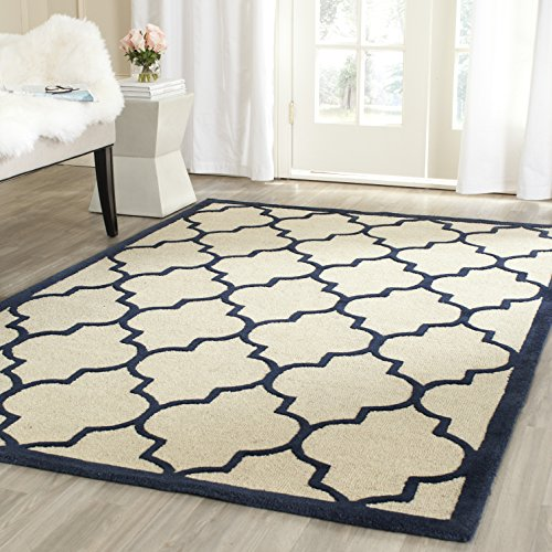 Safavieh Strukturierter Teppich, CAM134, Handgetufteter Wolle, Elfenbein/Marineblau, 120 x 180 cm