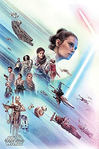 Star Wars Póster Episode IX: The Rise of Skywalker - Rey & Rebels (61cm x 91,5cm) + 1 Paquete de tesa Powerstrips® (20 Tiras)