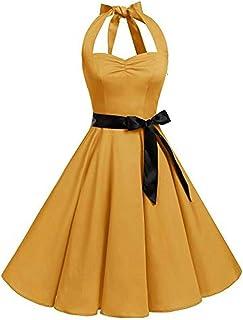 9597b627a VJGOAL Mujer Primavera y Verano Moda Casual Sin Mangas Lunares Encaje  Vintage Hepburn Columpio Cintura Alta