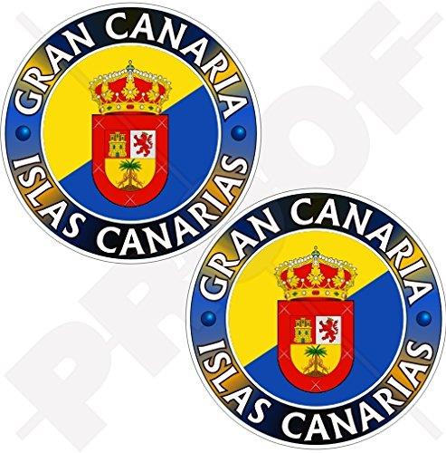 GRAN CANARIA, CANARY ISLANDS Spanien, ISLAS KANARIAS Spanska 75 mm (3 tum) vinyl stötfångarklistermärken, dekaler x 2