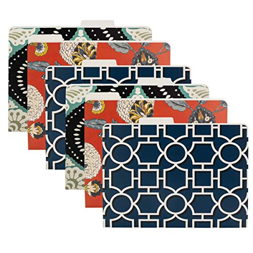 Dwell Studio (6 Pack) Decorative File Folders Letter Size Colored Patterns Paper School Home Office Desk Organization And Storage