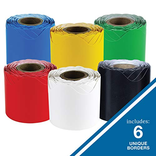 """Carson Dellosa Scalloped Bulletin Board Borders Set—6-Pack, Blue, Yellow, Green, Red, Black, White Rolled Borders, Classroom Decorations (2.25"""" x 36' Rolls) Photo #6"""