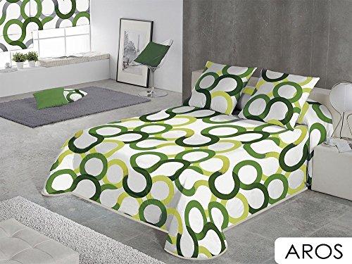 SABANALIA - Colcha Aros (Disponible en Varios tamaños y Colores), Cama 90-180 x 280, Verde
