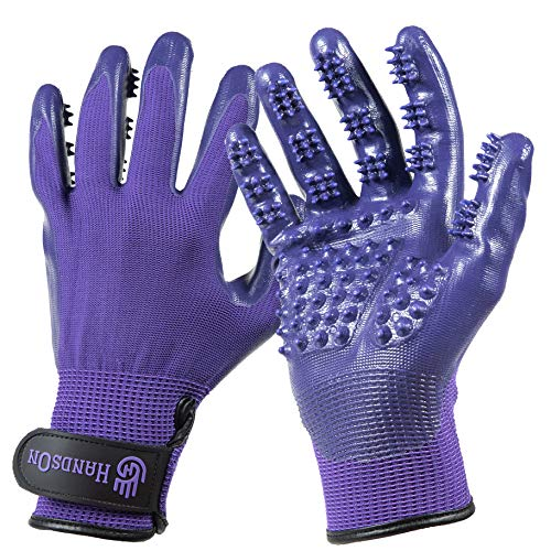HandsOn Pet Grooming Gloves - Patented, Shedding, Bathing, Hair Remover Gloves for Cats, Dogs and Horses (Mono-Purple, Medium)