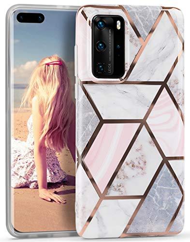 Imikoko Hülle für Huawei P40 Pro Marmor Handyhülle TPU weiche schlanke Schutzhülle Handyhülle Flexible Hülle Handyhülle mit marmoriertem Spleißen