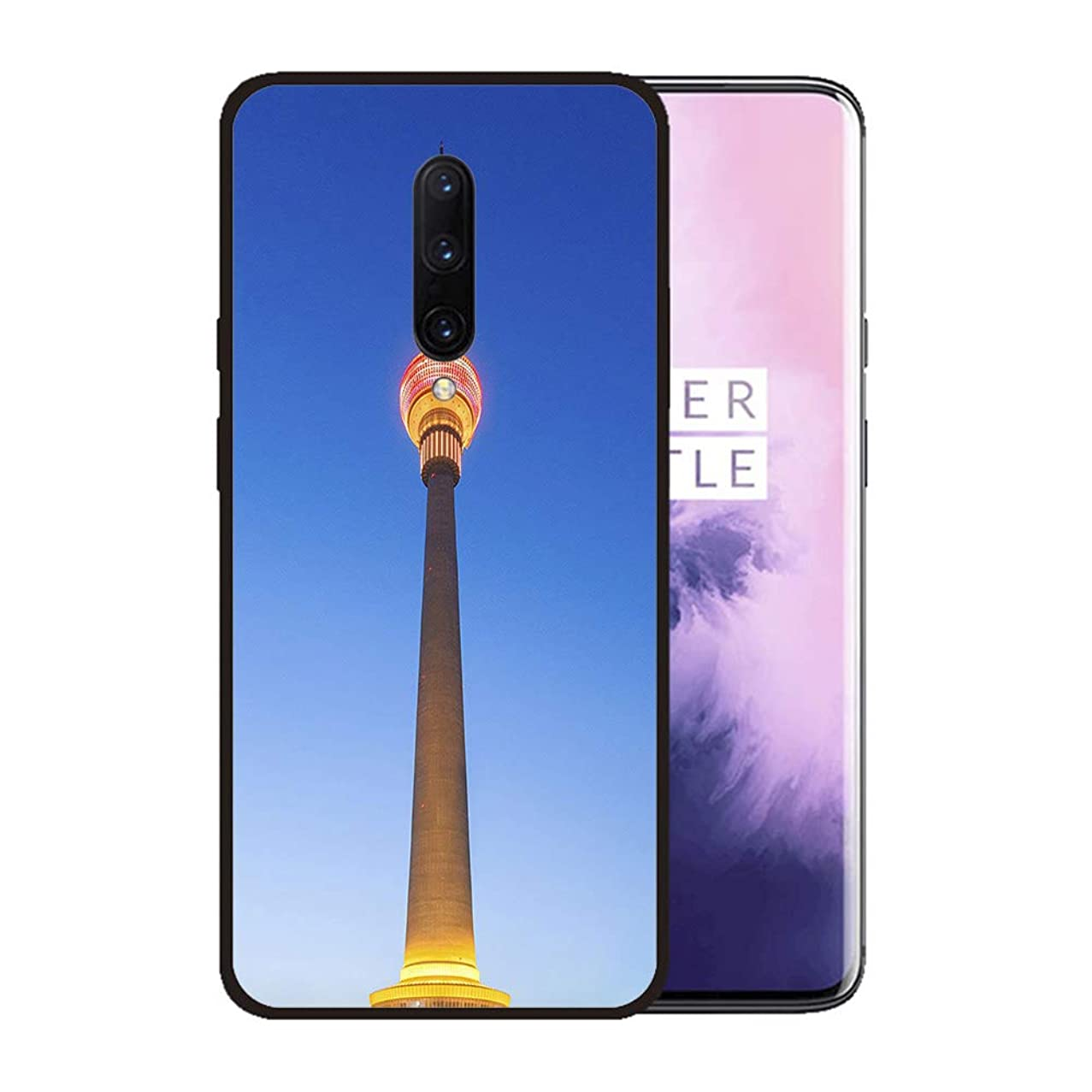 Case for OnePlus 7 pro,Silicone Cover and Tempered Glass 2 Materials,Non-Slip, Anti-Drop, Anti-Scratch,Depict- Beijing TV Tower Illuminated in Chinese Lantern Style