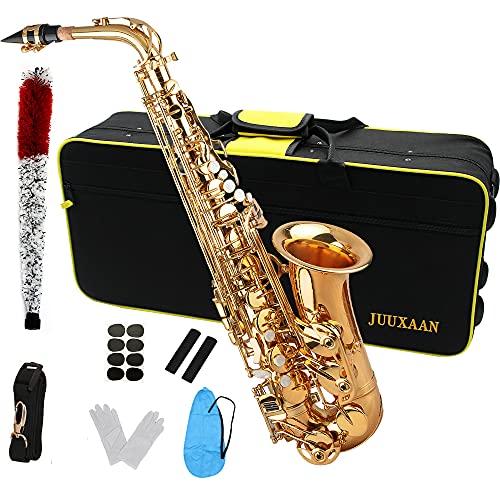 JUUXAAN Alto Saxophone Eb beginner Saxophone includes brush canvas suitcase glove...