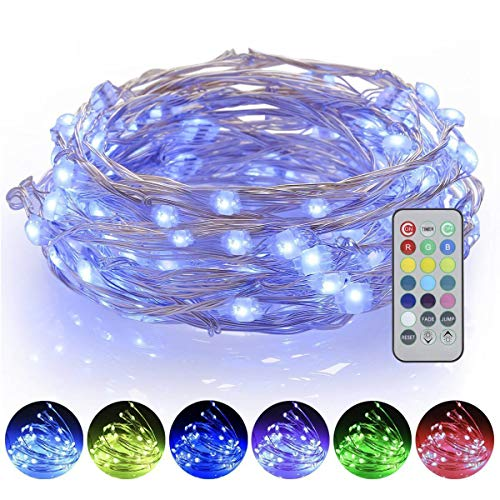 16ft 50 LED Battery Powered ProGreen Dimmable, (13) Multi Color Changing Starry Fairy String Lights With Remote, for Christmas, Parties, Bedroom, Garden