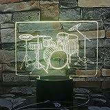 A-Generic 3D Illusion Night Light 16 Color LED Vision Drum Kit Acrílico Holograma Tabla de Niños Atmósfera Drum Set Dim Colorido Creativo Regalo Control Remoto
