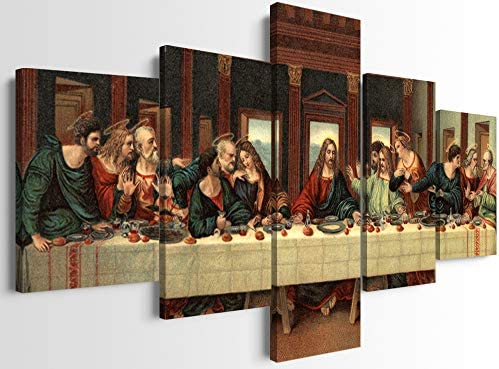 Modern HD Prints The Last Supper Posters and Prints 5 Panels Jesus Oil Painting Reproduction product image