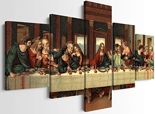 Modern HD Prints The Last Supper Posters and Prints 5 Panels Jesus Oil Painting Reproduction by Da Vinci Canvas Wall Art Stretched by Wooden Frame for Home and Office Decor (60''W x 32''H)