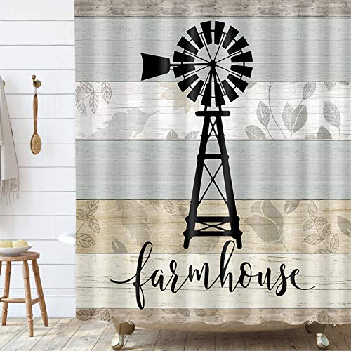 Farmhouse Windmill Shower Curtain, Teal Grey Vintage Rustic Wooden Plank Bathroom Curtain, Country Wooden Plank Polyester Fabric Shower Curtain Set with Hooks, 69x70inches