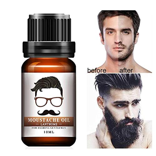 HELEVIA Natural Men Beard Essential Pour Barbe Hair Mustache Care Beard Oil Essential Hydratant, 10ml