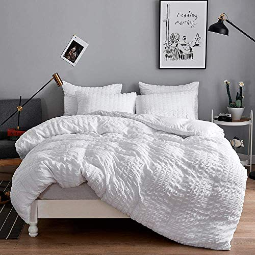 Seersucker Duvet Cover with Pillow Cases 100% Cotton 200 Thread Count Quilt Covers White | Silver | Charcoal | Pink | Grey Bedding Sets Double King Super King Size (White, Double)