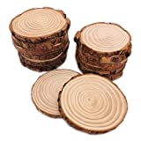 16 Pcs 3.5'-4' Unfinished Natural Wood Slices Circles with Bark for Coasters DIY Crafts Christmas Ornaments Rustic Wedding Decorations Centerpiece