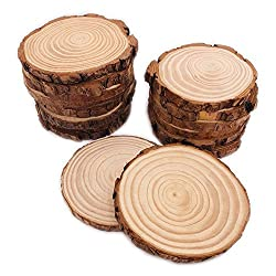 "16 Pcs 3.5""-4"" Natural Unfinished Wood Slices Circles with Bark for Rustic Decorations"