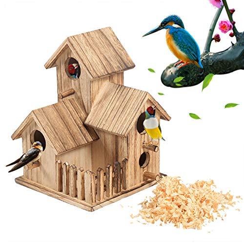 moonshop Holz Vogelhaus - Nistkasten Für Rotkehlchen, 3 Zimmer Vogel Nistkasten, Vogelhäuschen Vogel Nistkasten Aus Holz Für Nischenbrüter, Brutkasten Für Halbhöhlenbrüter