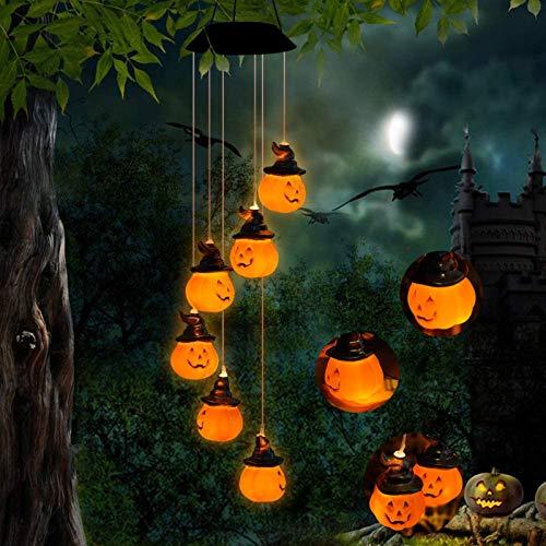 BINWO Solar Halloween Pumpkin Decorative Lights Solar Wind Chimes with 6 LED Pumpkin Lights, Waterproof Holiday Lights for Indoor/Outdoor Decor, Halloween, Garden, Party