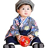 Sweet Mommy 袴 ロンパース ベビー 着物 カバーオール 日本製和柄ちりめん ネイビー 80