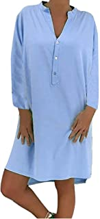 LOPILY 2019 Autumn Casual Dress Women's Ladies Plue Size Loose Solid Long Sleeve Cotton Linen Knee Length Dress Soft Work Dress