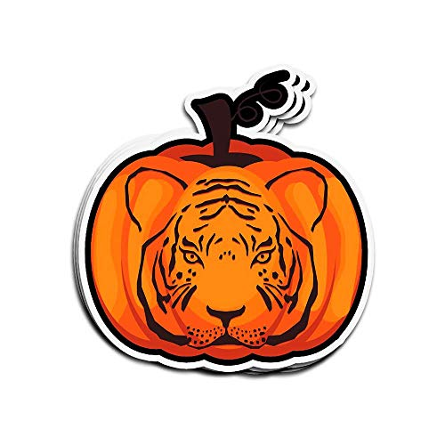 Wandaufkleber für Halloween, Kostüm, Tiger, Kürbis-Laterne, Tiger, 7,6 x 10,2 cm, gestanzt, für Laptop, Fenster, Auto, Stoßstange, Helm, Wasserflasche, 3 Stück