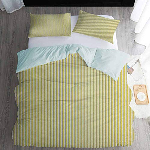 Nomorer Quilt Set Queen Size, Grey and Yellow 3pcs Bedding Set - Circus Tent Inspired Vintage Retro Stripes Modern Image, Pale Yellow Beige and White
