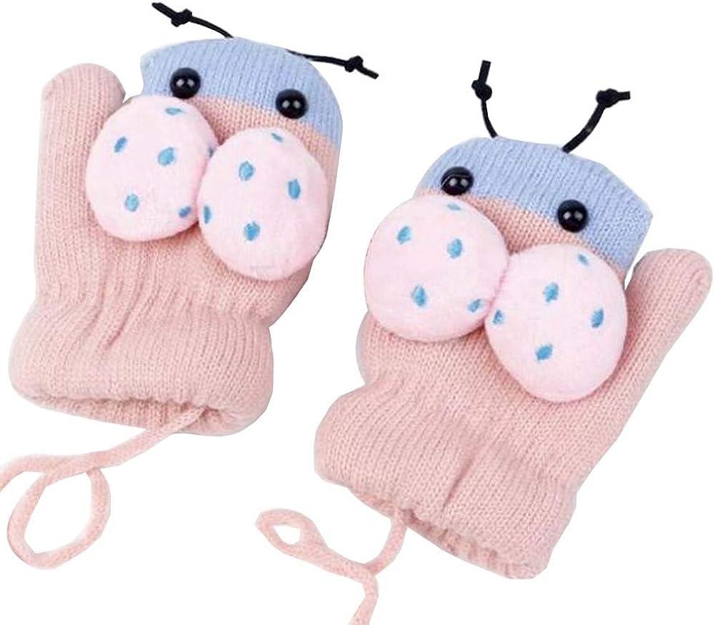 Lovely Knitted Baby Mittens Warm Winter Children Mittens Baby Gloves #32