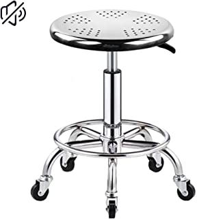 Heavy Duty Adjustable Height Stainless Steel Structure Work Shop Stool Round Cushion, Salon Rolling Stool Swivel Chair On 5 Wheels,Foot Res Load-Bearing 440 Ib