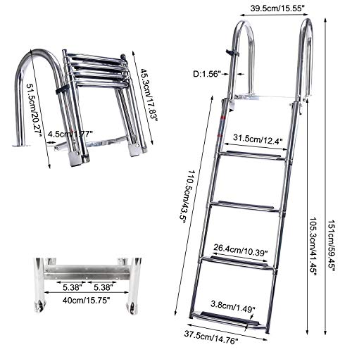 Amarine Made 4 Steps Removable Premium Stainless Folding Rear Entry Pontoon Boat Ladder w/Extra Wide Step