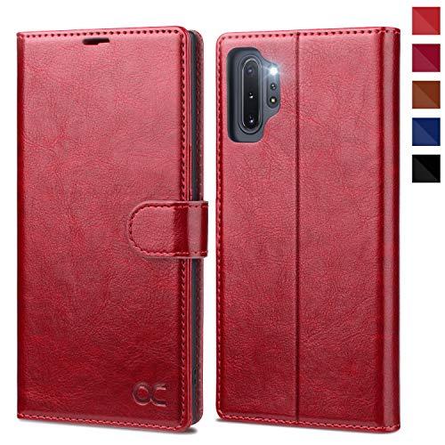 OCASE Hülle Handyhülle Samsung Galaxy Note 10+ Plus 5G [Premium PU Leder][Kartenfach][Magnetverschluss] Handytasche Etui Schutzhülle für Samsung Note10+ Plus Cover Rot