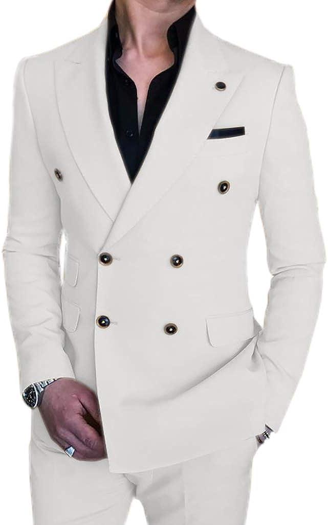 Men's Formal Suits Slim Fit 2 Pieces Double Breasted Blazer Wedding Suit Jacket & Pants