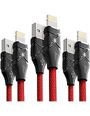 iPhone 充電ケーブル 3本セット Aimus ライトニングケーブル LEDライト付き 高耐久 亜鉛合金採用 USB充電 iPhoneX/ 8 / 8 Plus / 7 / 7 Plus / 6s plus / 6s 対応