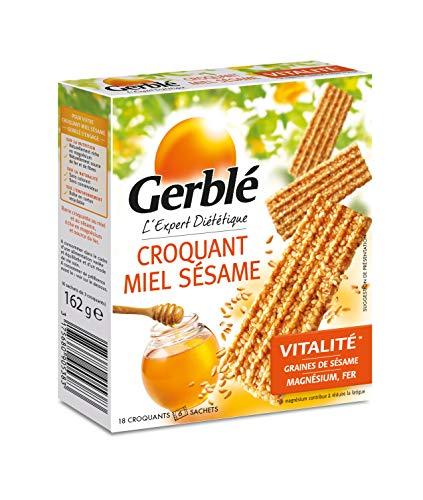 Gerblé Vitalité, Croquants Miel Sésame, Sans huile de palme, 1 boîte de 18 biscuits, 162g