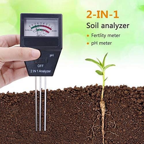 WSN Feuchtigkeitsmessgerät Tester,2 in 1 Bodenfeuchtigkeitsmesser fruchtbare Pflanze hochpräzise Boden pH-Tester Indoor-Outdoor-Testgerät Werkzeug